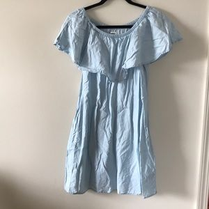 Light Chambray Off the Shoulder Dress